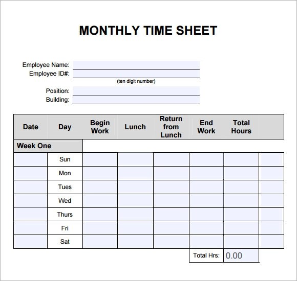 weekly monthly timesheet template - free blank time sheets