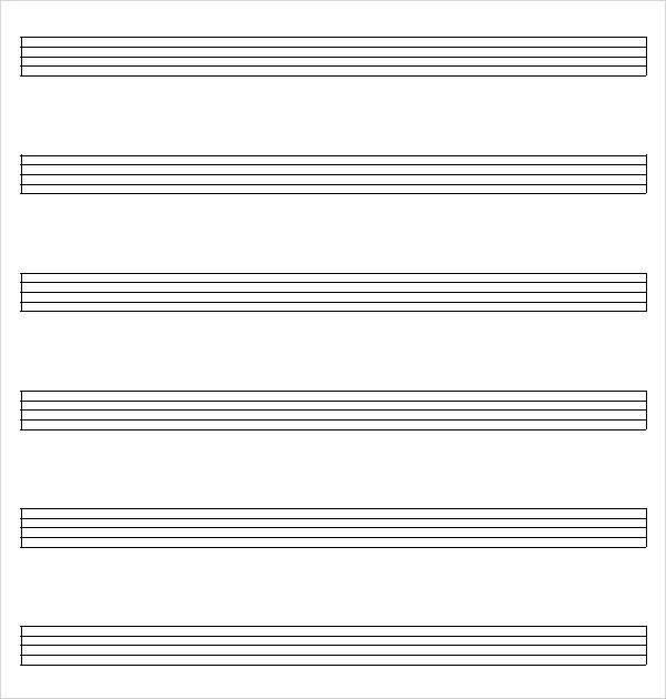 ... Music Staff Paper   8+ Free Download For PDF , Word   Note Paper  Template ...