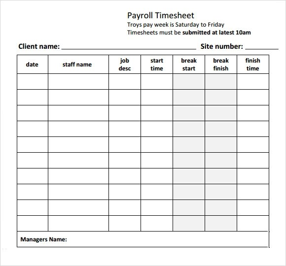 Payroll Sheet Templates | Free Resume Samples