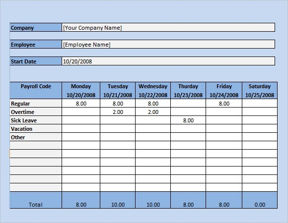Payroll Timesheet Template - 14+ Download Free Documents in PDF, Excel