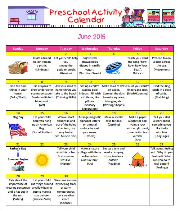 9 Sample Preschool Calendar Templates to Download Sample Templates