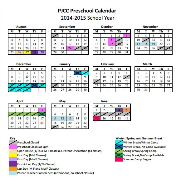 Preschool Calendar Templates - 8+ Download Free Documents in PDF