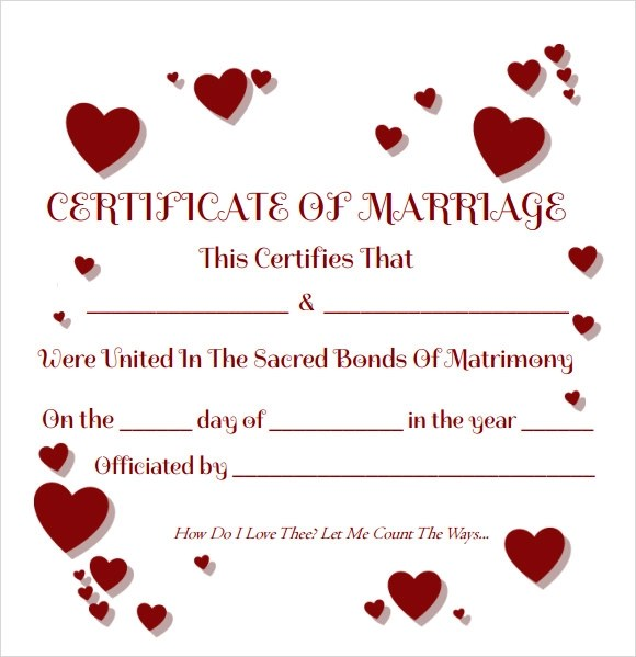 Sample Marriage Certificate Template - 18+ Documents in PDF, Word