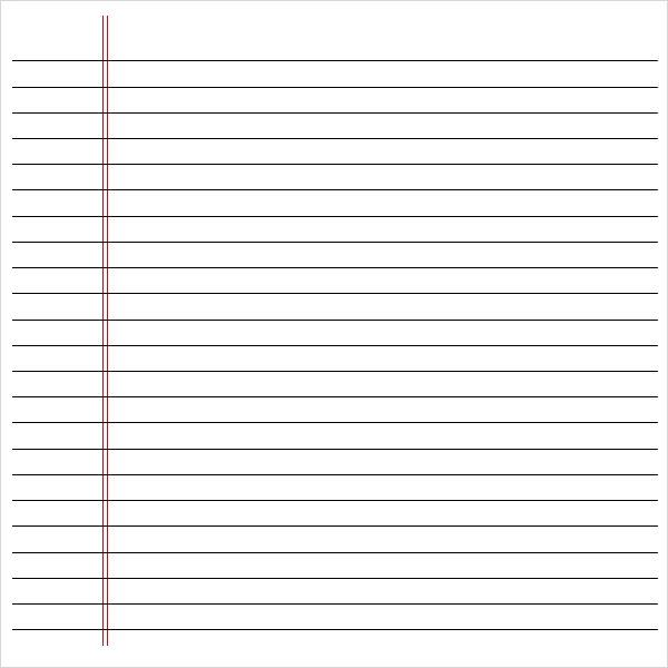 microsoft word notebook paper template