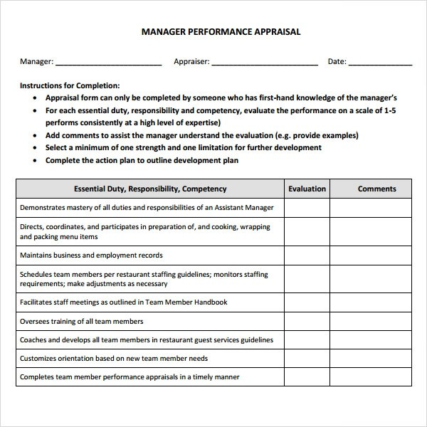 Manager Evaluation - 3 Free Download for PDF