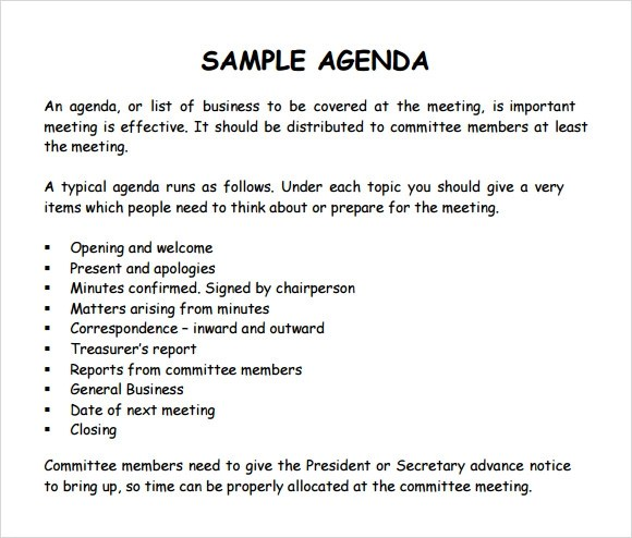 meeting agenda examples templates - zaxa