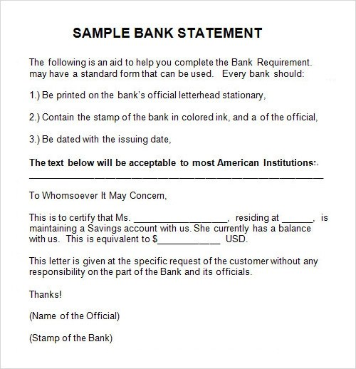 7+ Sample Statements Sample Templates - sample bank statement