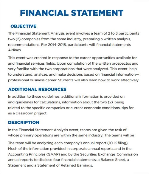 Sample Statement - 6+ Documents in PDF, Word - financial statements templates