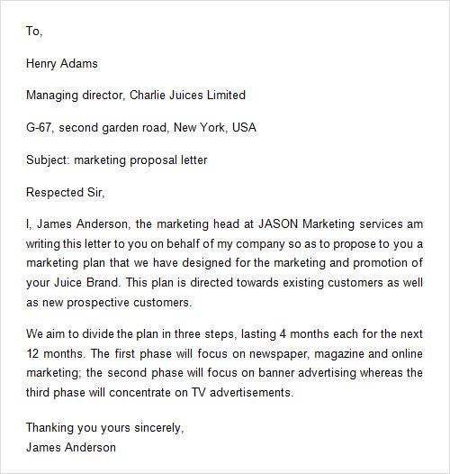 11+ Sample Proposals Sample Templates - marketing proposal letter
