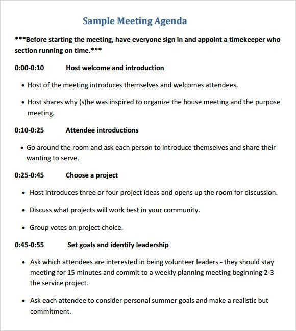 meeting itinerary template