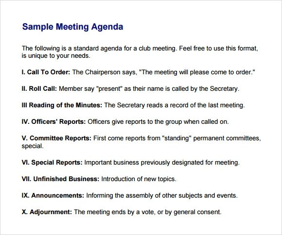 6 Business Meeting Agenda Templates \u2013 Free Samples , Examples - format of meeting agenda