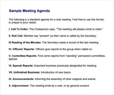Business Meeting Agenda Template - 5+ Download Free Documents in PDF, Word