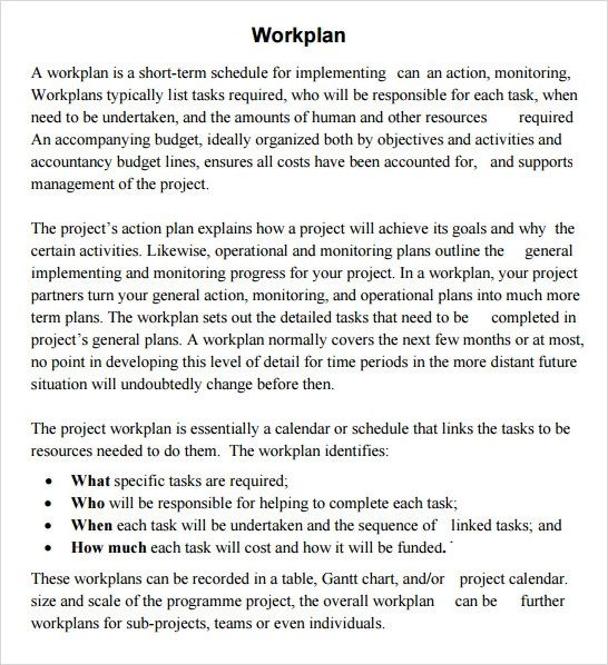 project work plan template word