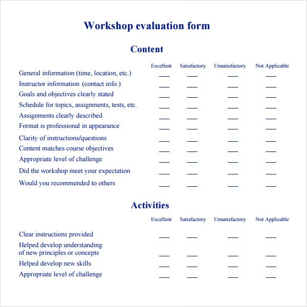 11 Sample Workshop Evaluation Forms to Download Sample Templates - Workshop Feedback Form