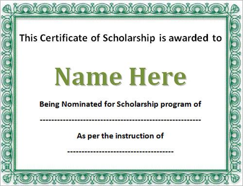 Sample Scholarship Certificate Scholarship Certificate Scholarship