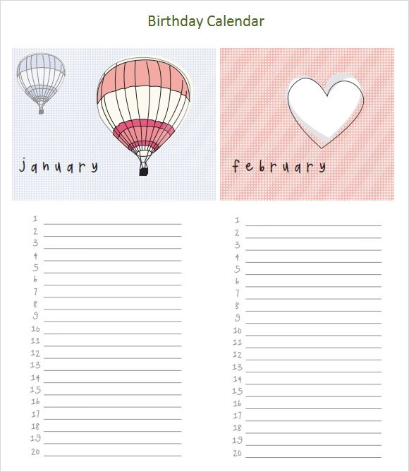 Sample Birthday Calendar Template - 13+ Documents in PDF, Word, PSD