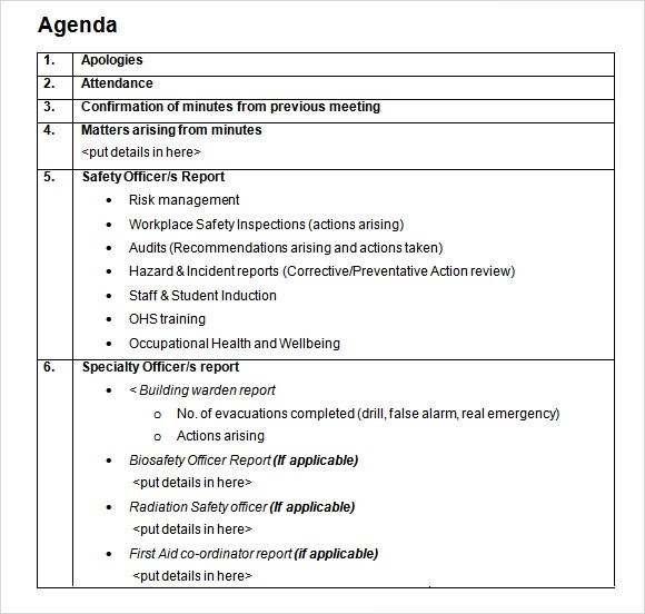 8+ Student Agenda Samples Sample Templates - agenda template doc