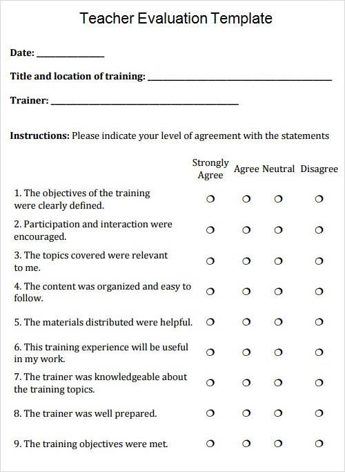 Sample Survey Student Course Evaluation Teacher Evaluation Template Free Download Documents In Pdf