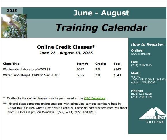 12 Sample Training Calendar Templates to Download Sample Templates - training calendar template