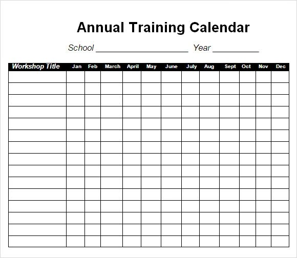 Training Calendar Template - 11+ Free Download for PDF, Word, Excel