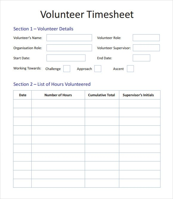 Volunteer Timesheet Template - 9+ Download Free Doccuments in PDF - free timesheet template word