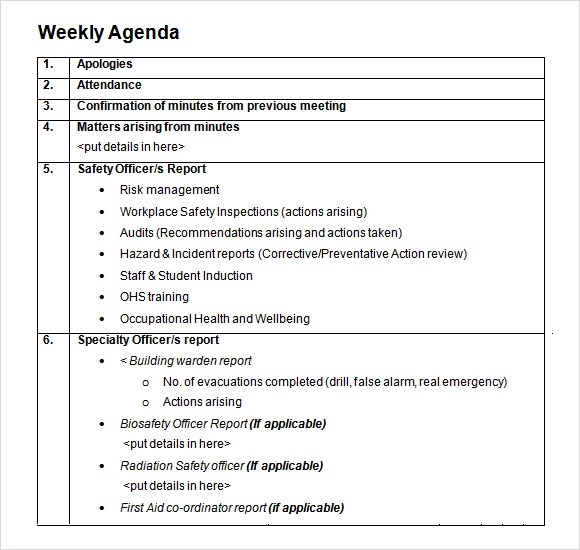 Training Programme Evaluation Businessballs Weekly Agenda Sample 9 Documents Pdf Word