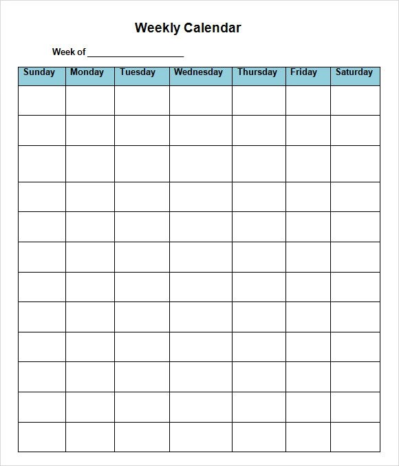 17+ Sample Weekly Calendars Sample Templates - calendar template for word