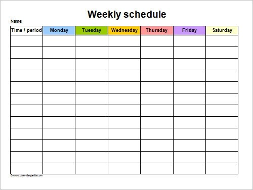 Weekly Work Schedule Template Pdf | Curriculum Vitae Examples Of