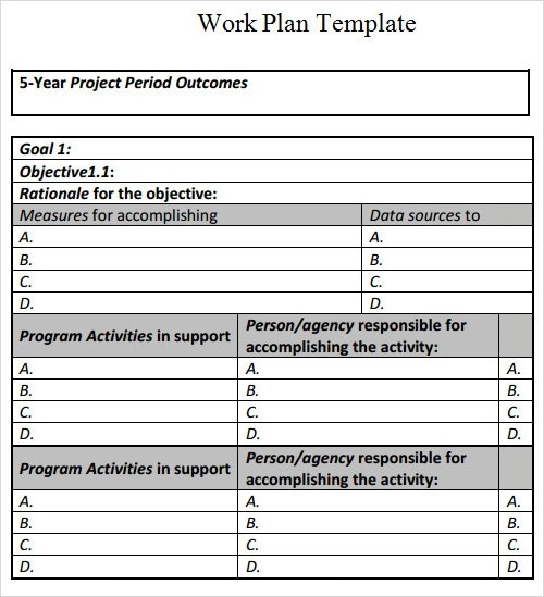 Appealing Business Work Plan Template Example With Purpose And Work