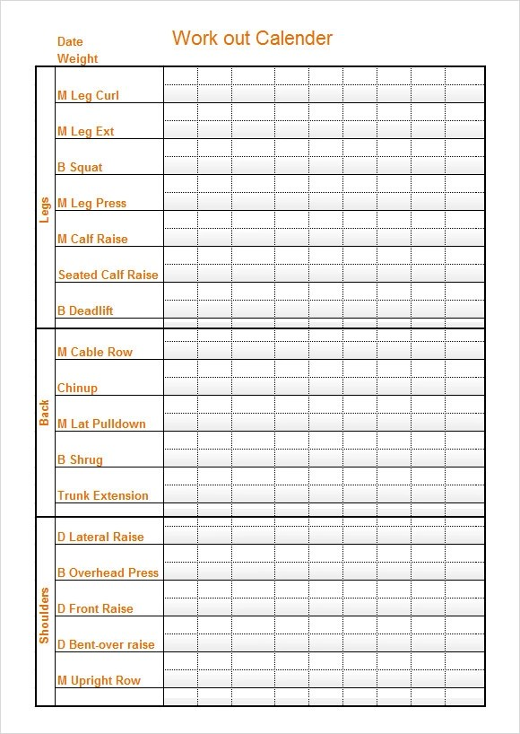 10 Sample Workout Calendar Templates to Download Sample Templates - monthly workout plan template
