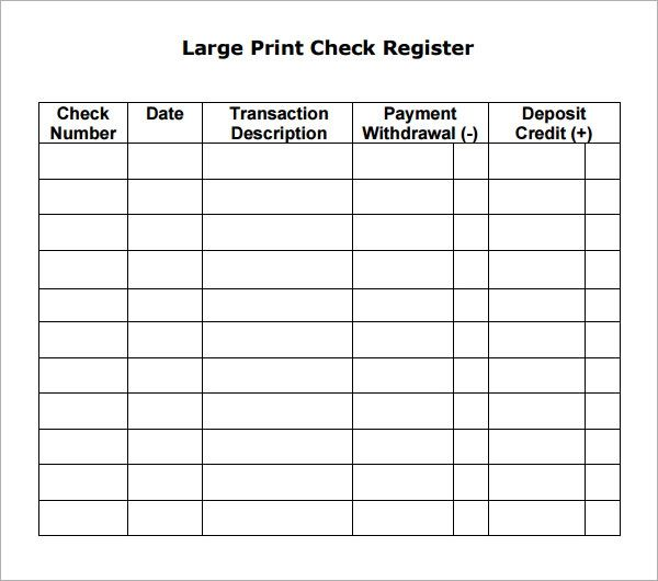 check book transaction register