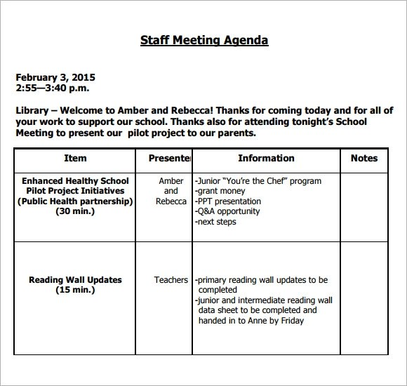 6+ Staff Meeting Agenda Samples Sample Templates - example of agenda of meeting