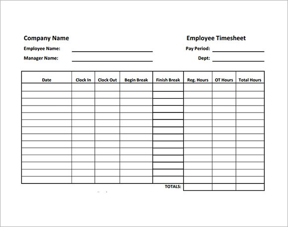 Excel Timesheet With Lunch Breaks Easy Calculate Hours Employee Timesheet Sample 11 Documents In Word Excel Pdf