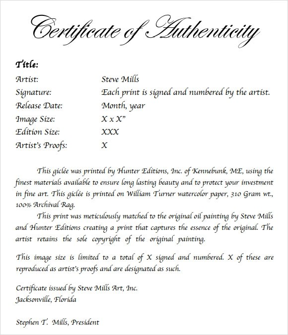 Certificate Of Authenticity Autograph Template ImtsInfo