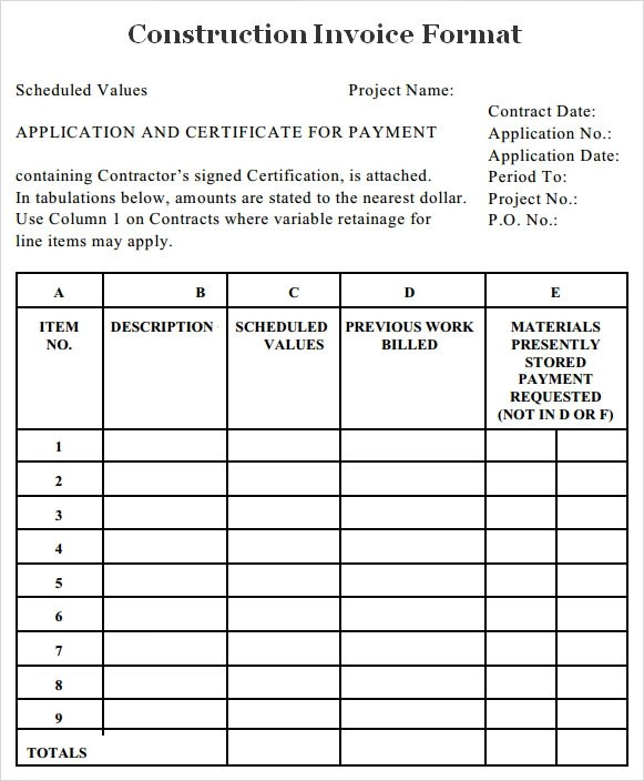 sample construction invoice template - Jolivibramusic - template for a billing invoice