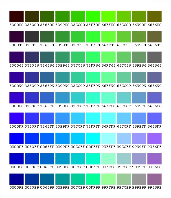 Sample CSS Color Chart \u2013 5+ Documents In PDF, Word