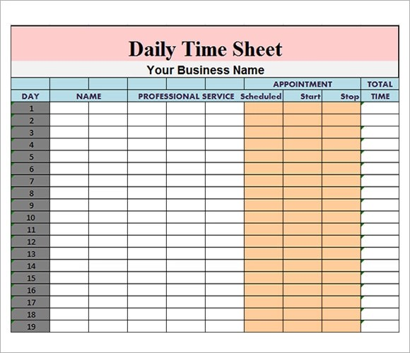 15 Sample Daily Timesheet Templates to Download Sample Templates