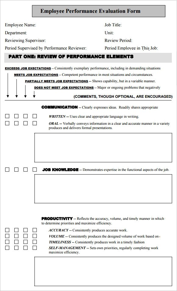 Sample Performance Evaluation Systemize; 10 Sample Employee - job performance evaluation form templates