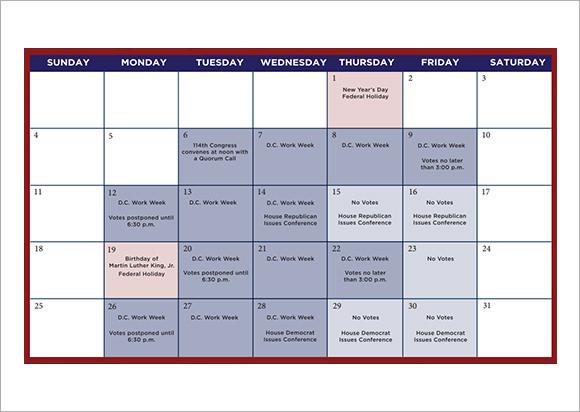 calendar 2015 monthly printable