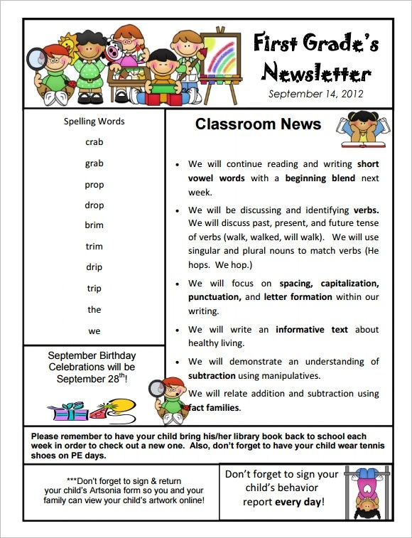 10+ Sample Kindergarten Newsletter Templates Sample Templates