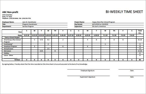 Biweekly Timesheet Template - 8+ Free Download In PDF - biweekly time sheet calculator