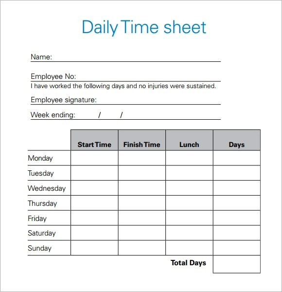 daily timesheet format - Intoanysearch - Daily Timesheet Template