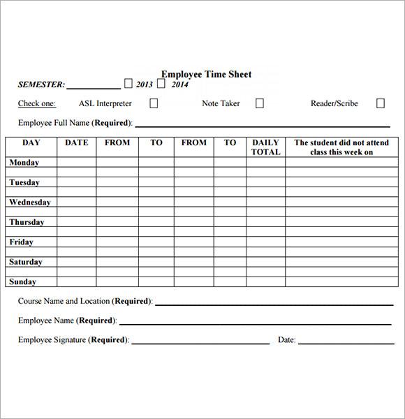 Volunteering Volun Tees Employee Timesheet Sample 11 Documents In Word Excel Pdf
