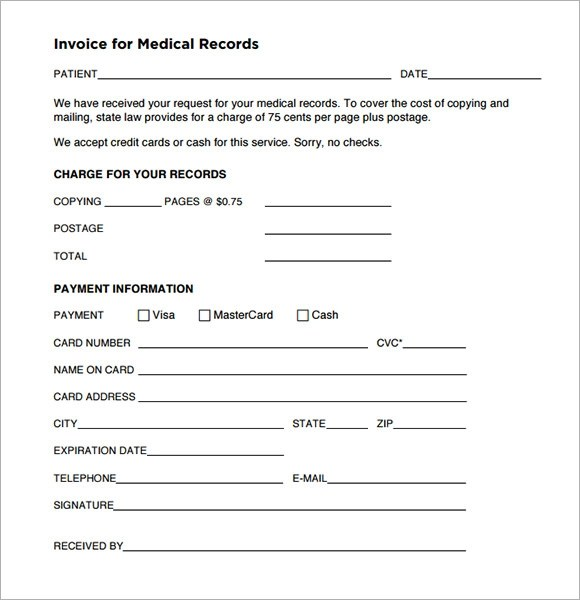 Sample Medical Invoice Template - 9+ Free Download In Pdf