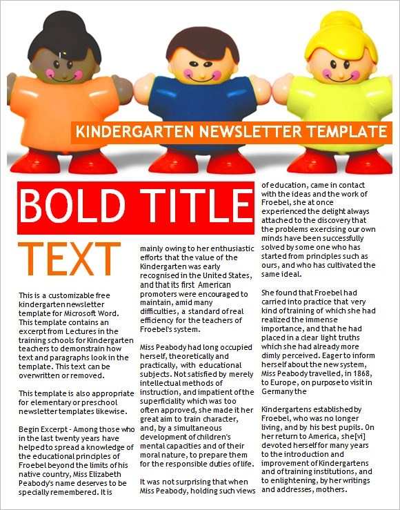 10+ Sample Kindergarten Newsletter Templates Sample Templates - weekly newsletter template