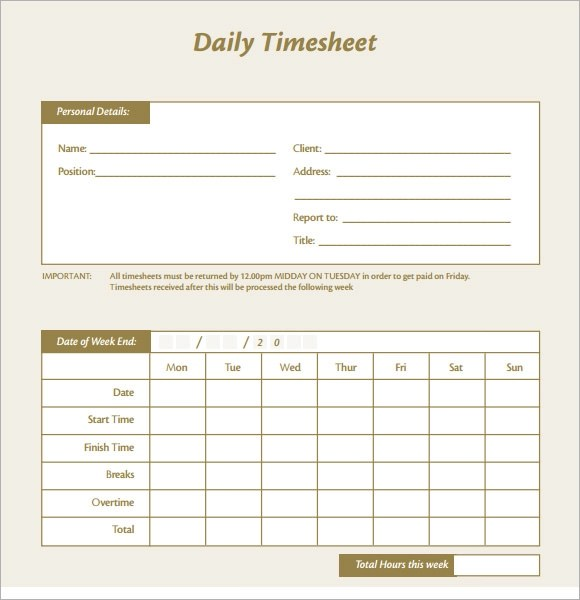 Sample Daily Timesheet simpletext
