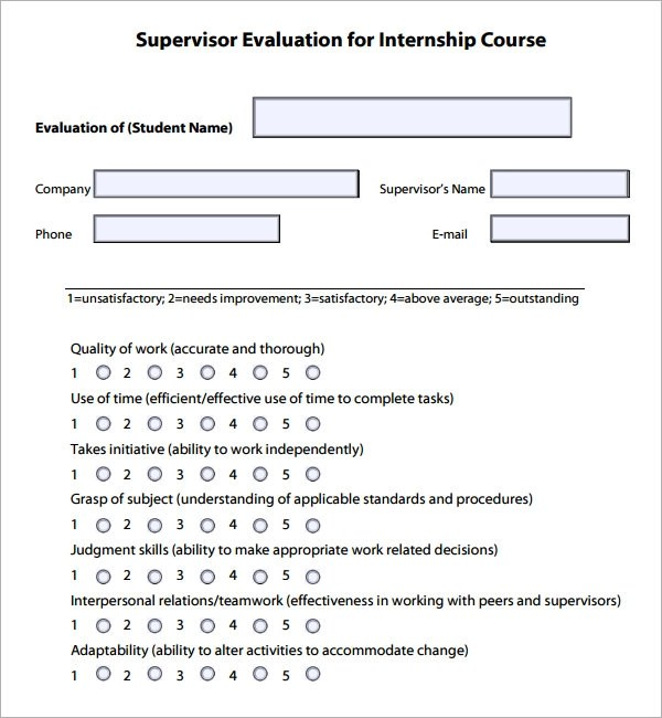 Employee Evaluation Forms For Supervisors  Resume Format Sample