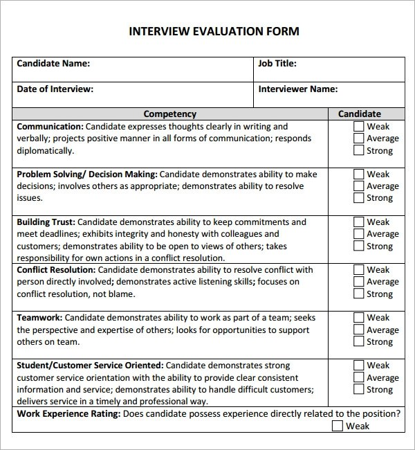 Interview Evaluation Form For Customer Service  Resume Format