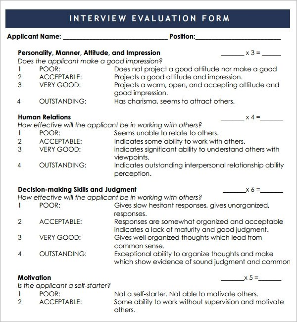Sample Interview Evaluation Form Staffing And Recruiting Interview Evaluation 7 Free Download For Pdf