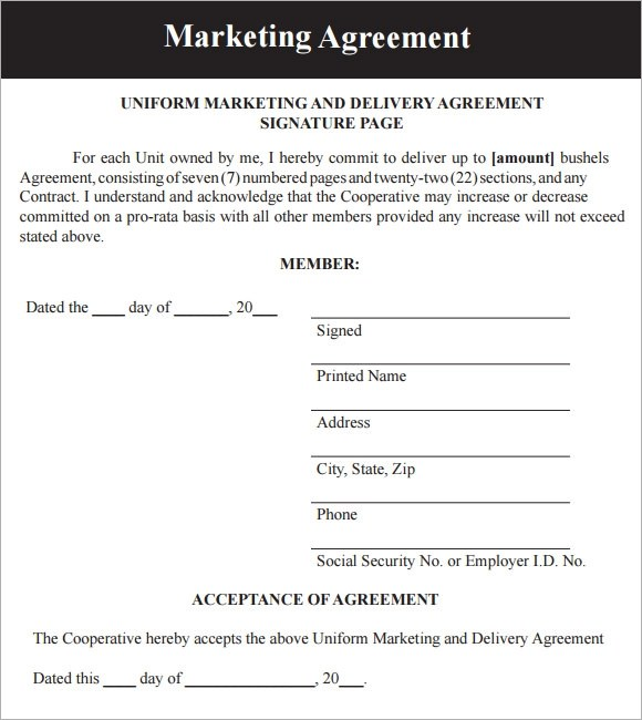 19 Sample Marketing Agreement Templates to Download Sample Templates - agreement format